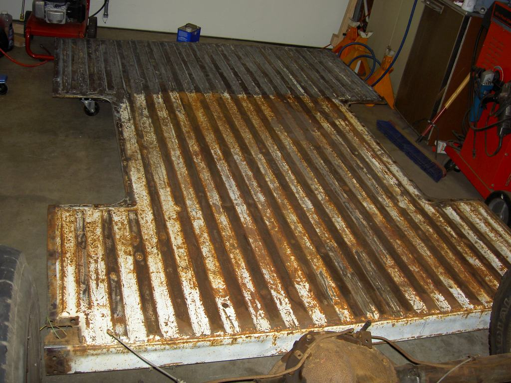 PICT2650 - Changing over to a steel floor.  I don't care for wood floor beds when you actually haul stuff in them.